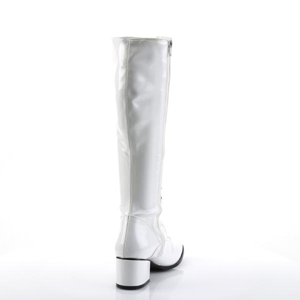 Funtasma RETRO-302 Women/'s White Patent Block Retro Gogo Low Heel Lace Knee Boot