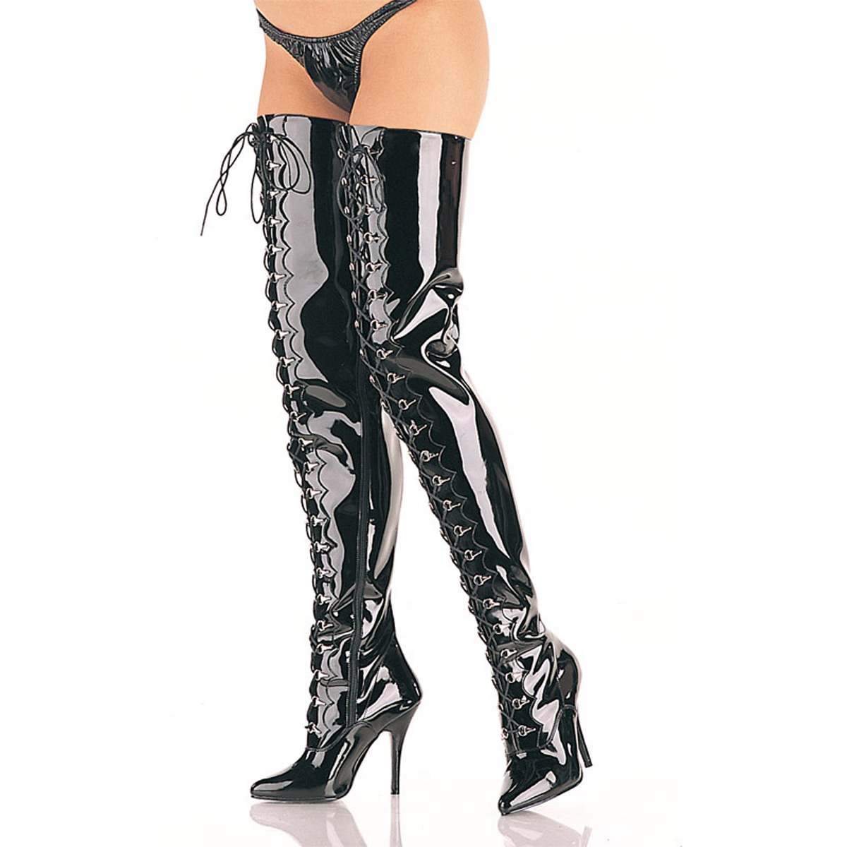 Black Latex Thigh High Over the Knee Fetish Hooker Boots Pleaser Flamingo-3028