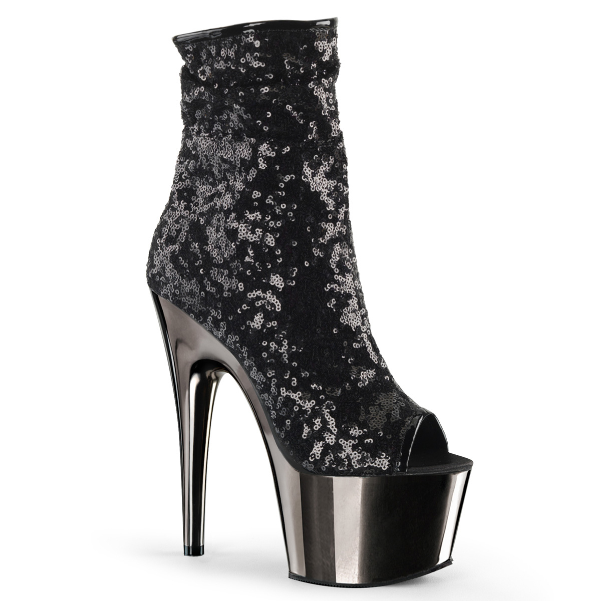 Sequins Pleaser Ankle Peep Adore Platform Black 1008sq Stiletto Toe COw1qxO04