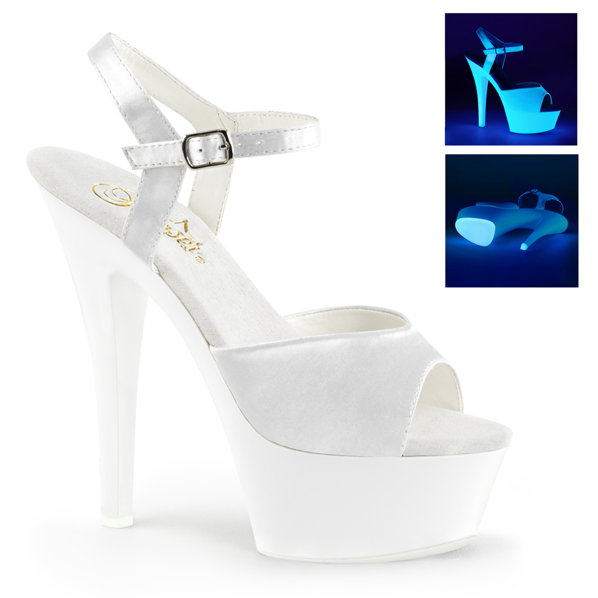 Pleaser Platform Sandals Blacklight Ankle Strap Shoes Kiss-209uv Neon White  12. About this product. Picture 1 of 2; Picture 2 of 2