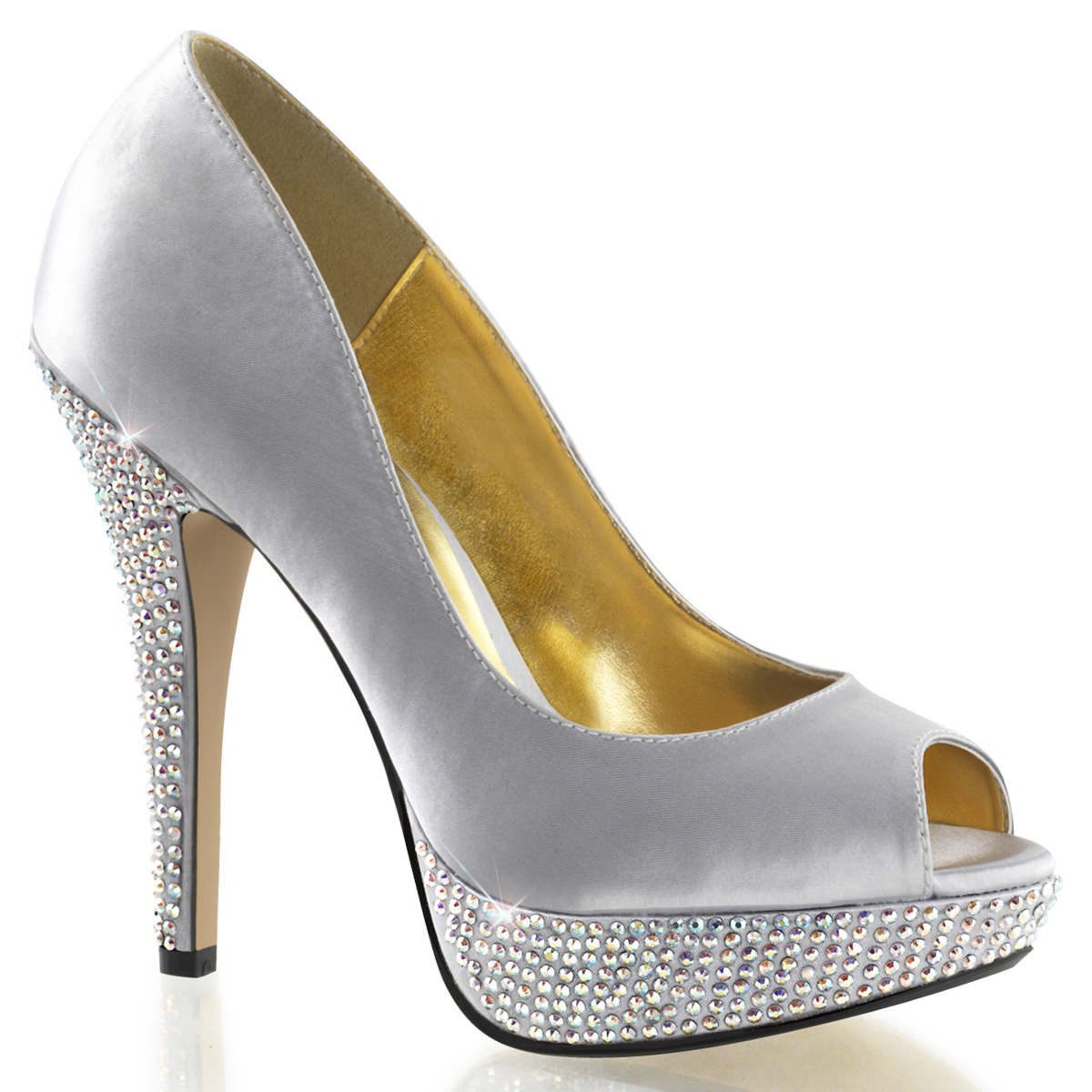 51648dd967d51a Fabulicious High Heel PEEP Toe PUMPS Satin Rhinestones Platform Lolita-02  Silver 11. About this product. Picture 1 of 2  Picture 2 of 2