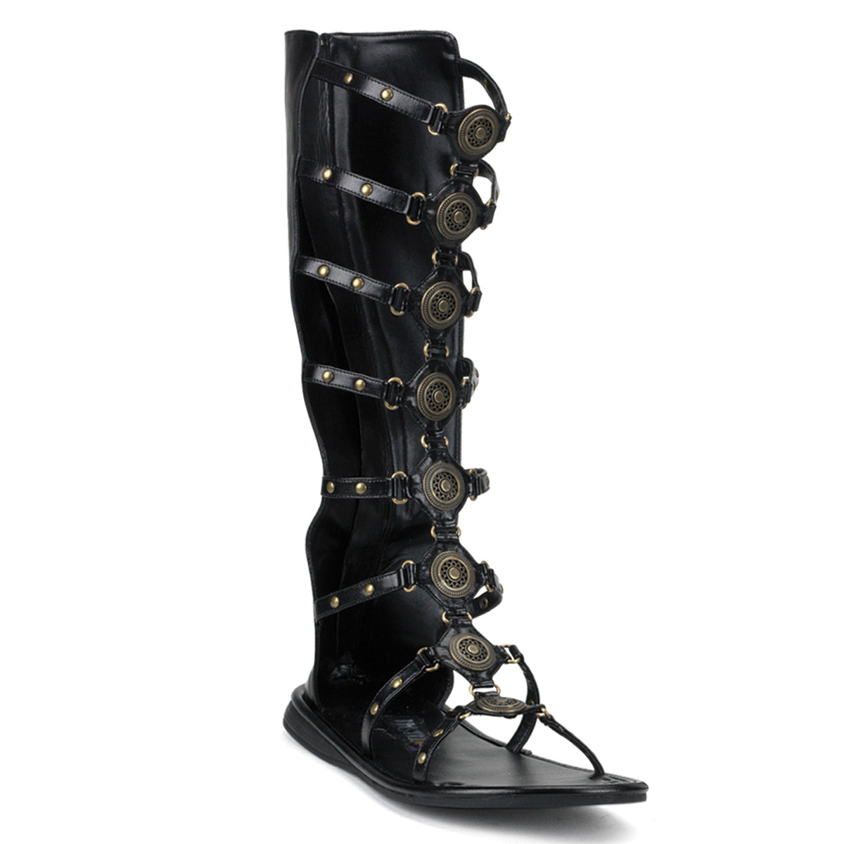 FUNTASMA Roman-15 Series Costume Blk Pu Costume Series Cosplay Halloween Gladiator Sandal c94e5a