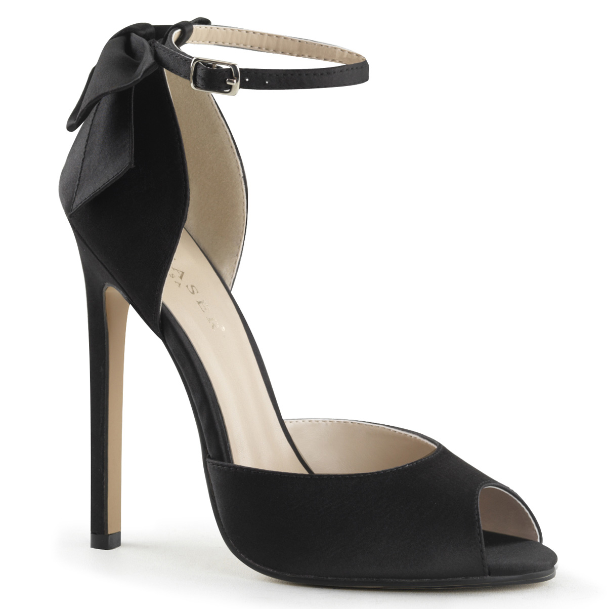 a1c6450396f Pleaser PEEP Toe High HEELS PUMPS Ankle Strap Bow Satin Shoes -16 Black 9