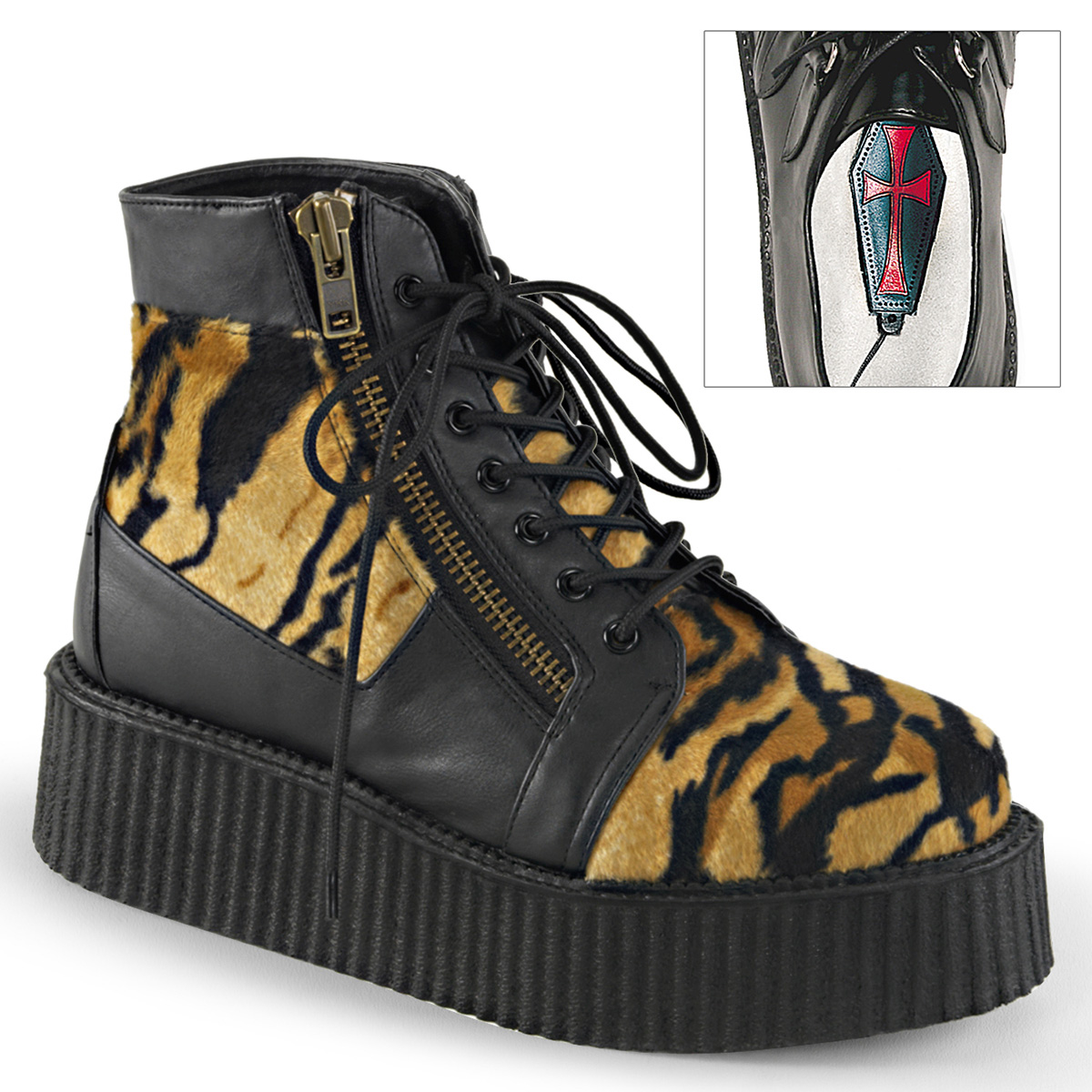 Demonia V Creeper 571 Ankle Boot 6 M Black Vegan Leather/tiger Print Faux  Fur. About this product. 1 watching. Picture 1 of 2; Picture 2 of 2